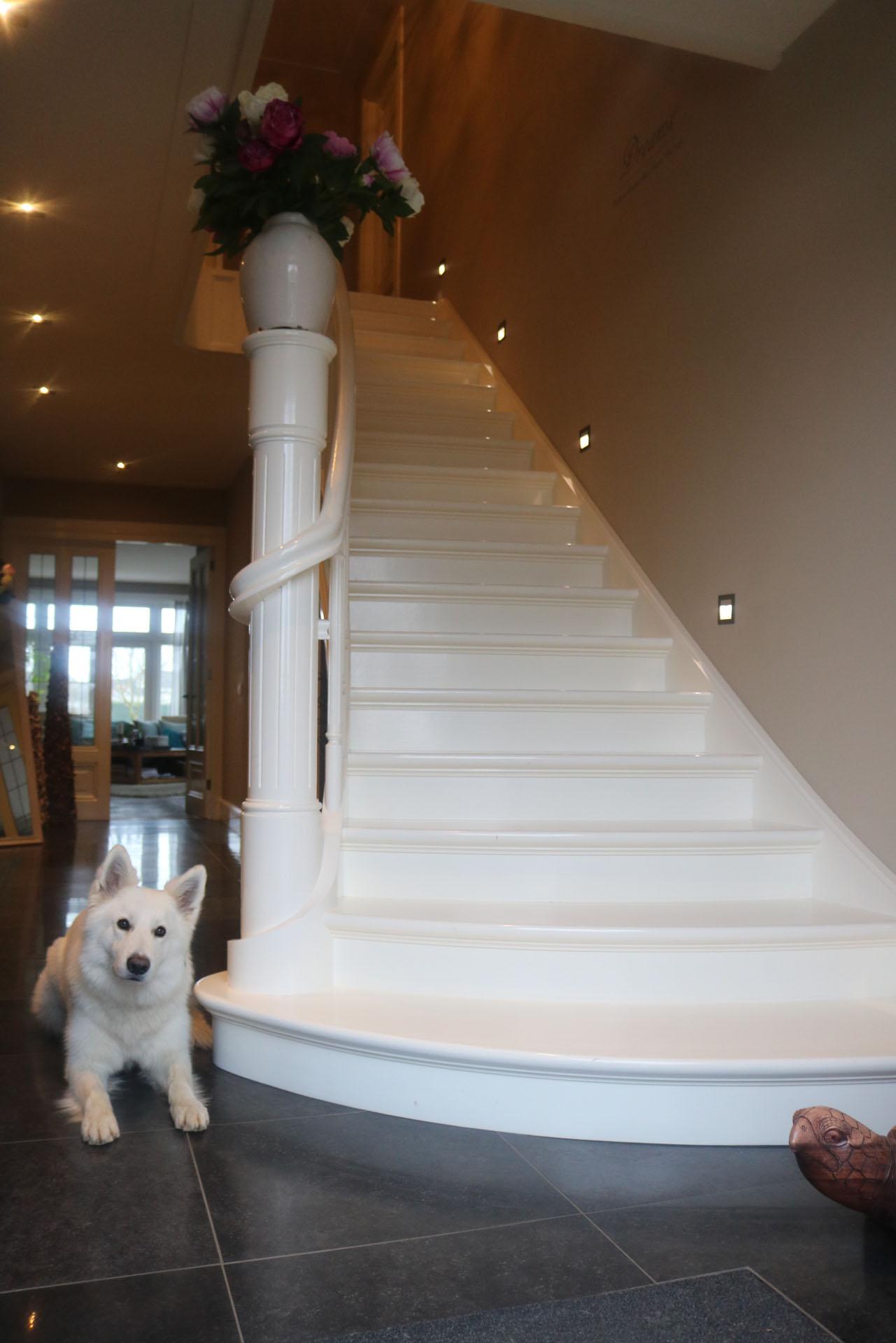 witte beukenhouten trap met uitwaaierende binnenboom