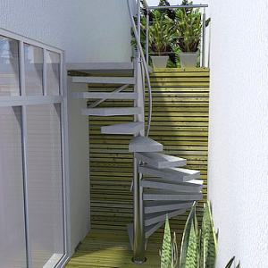 open rvs trap betonnen treden